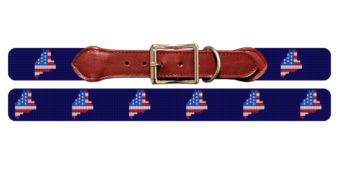 Maine State Needlepoint Dog Collar