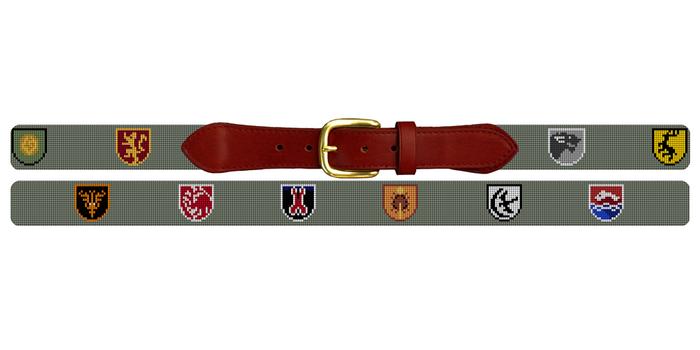 Custom Family Crest Needlepoint Belt