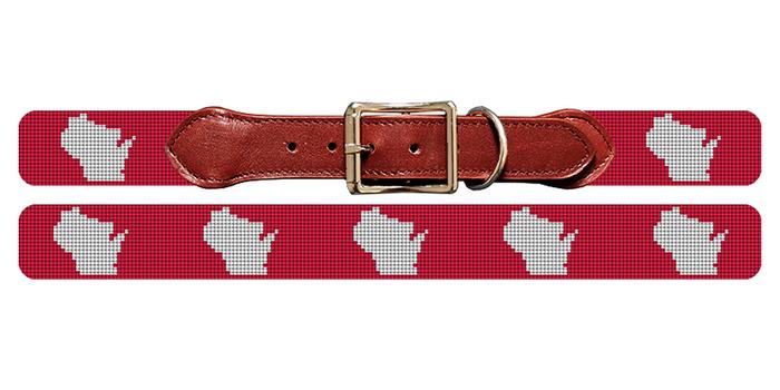 Wisconsin State Needlepoint Dog Collar