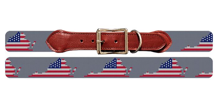 Virginia State Needlepoint Dog Collar