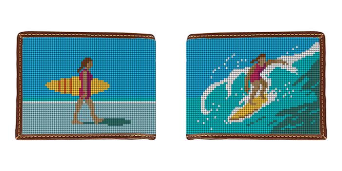 Girl Surfing Needlepoint Wallet