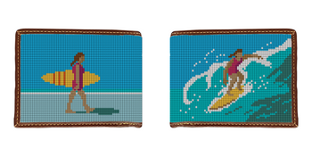 Girl Surfing Needlepoint Wallet