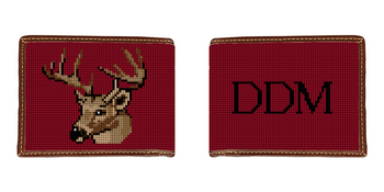 Deer Head Needlepoint Wallet