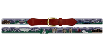 Vail Colorado Skiing Needlepoint Belt