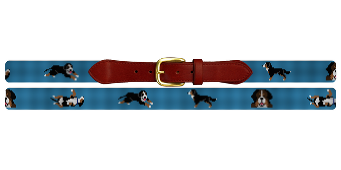 Bernese Mountain Dog Needlepoint Belt