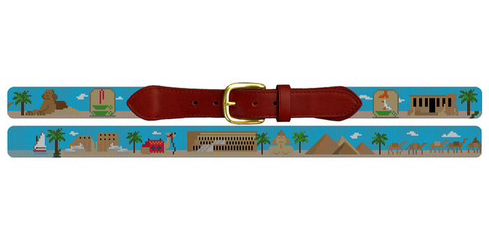 Egyptian Pyramids Needlepoint Belt