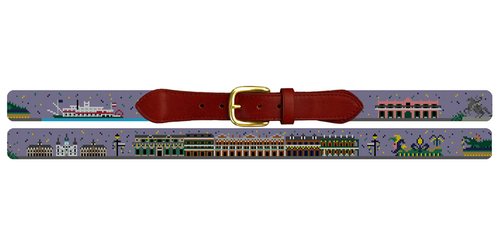 New Orleans Landscape Needlepoint Belt