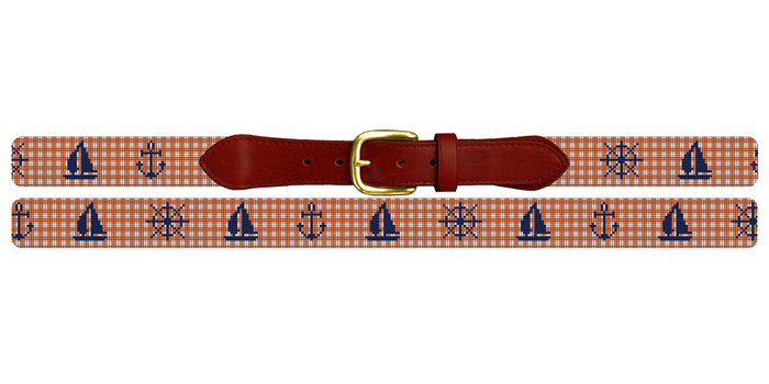 Gingham Nautical Needlepoint Belt