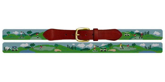 Golf Day Needlepoint Belt