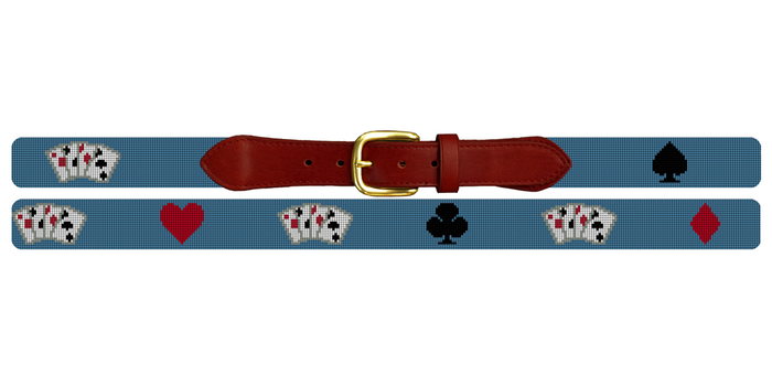Poker Game Needlepoint Belt
