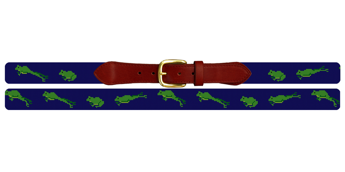 Green Frog Needlepoint Belt