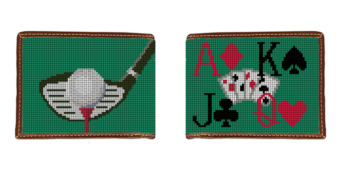 Golf and Poker Needlepoint Wallet