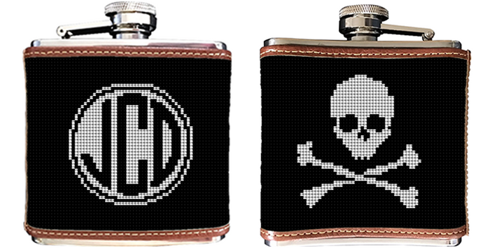 Skull and Crossbones Needlepoint Flask