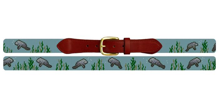 Manatee Needlepoint Belt