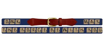 Classic Word Game Needlepoint Belt