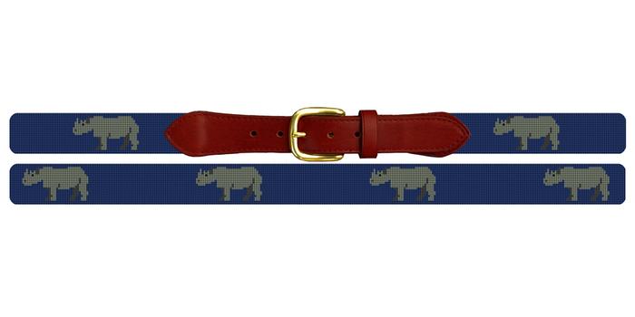 Preppy Rhino Needlepoint Belt