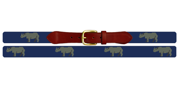 Preppy Rhino Needlepoint Belt