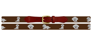 Bichon Frisé Needlepoint Belt