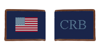 Monogram and US Flag Needlepoint Wallet