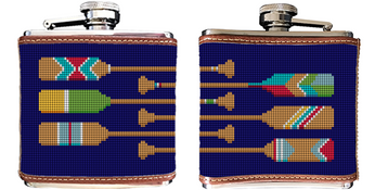 Preppy Paddle Needlepoint Flask