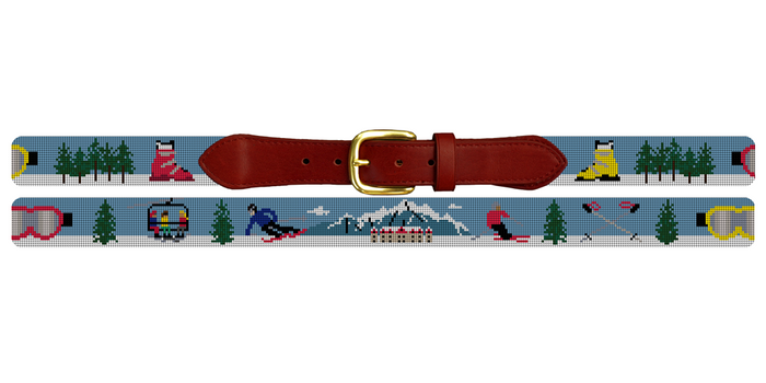 Mountain Skiing Needlepoint Belt