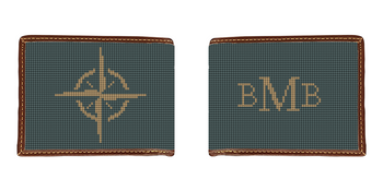 Classic Compass Needlepoint Wallet