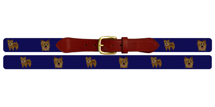 Norwich Terrier Needlepoint Belt