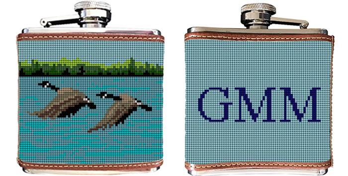 Canada Goose Needlepoint Flask