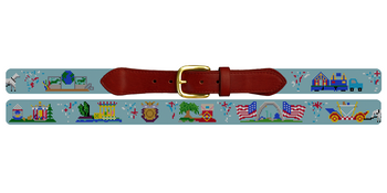 Mardi Gras Needlepoint Belt