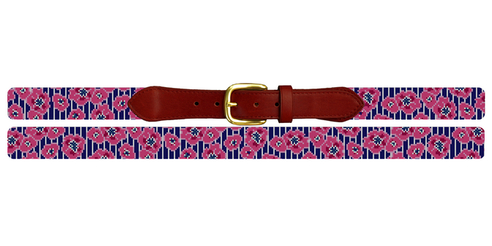 Preppy Floral Pinstripe Needlepoint Belt