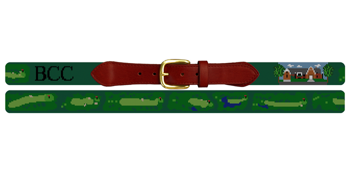 Bloomington Country Club Golf Course Needlepoint Belt