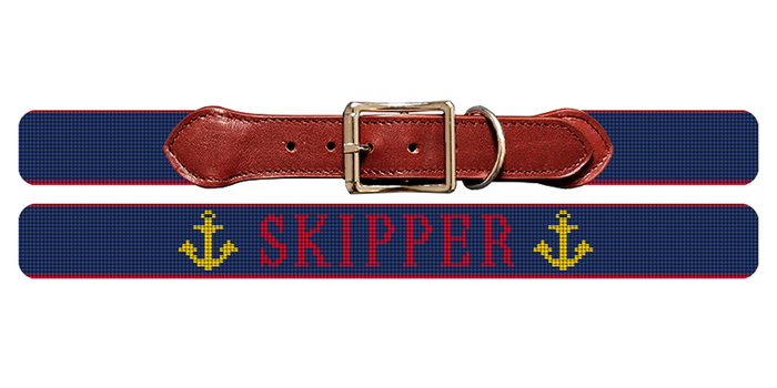 Anchors Away Needlepoint Dog Collar