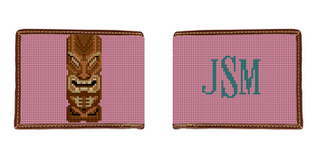 Tiki Needlepoint Wallet