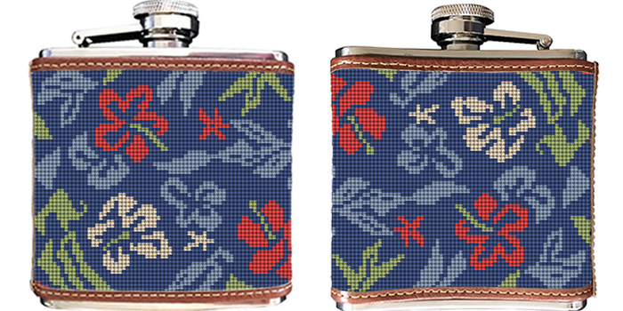 Aloha Hibiscus Needlepoint Flask