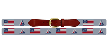 USA Flag Sailing Needlepoint Belt