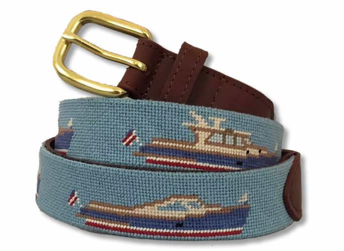 Wood Yacht Needlepoint Belt