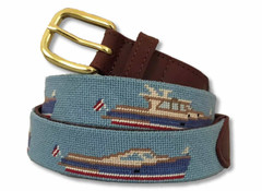 Wood Yacht Needlepoint Belt