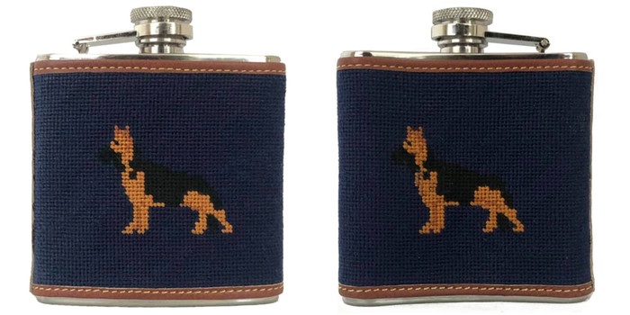 Shepherd Needlepoint flask