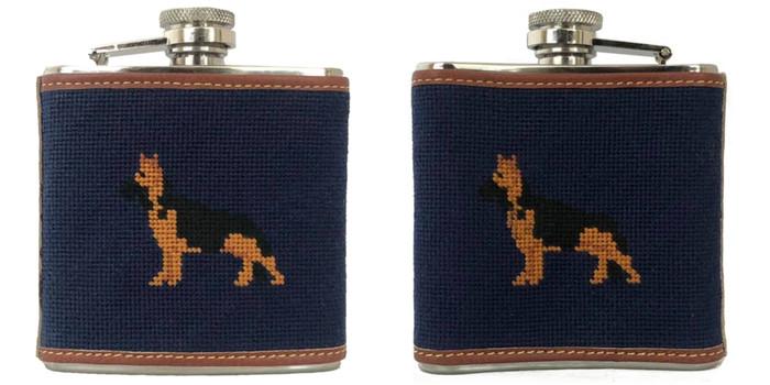 Shepherd Needlepoint flask
