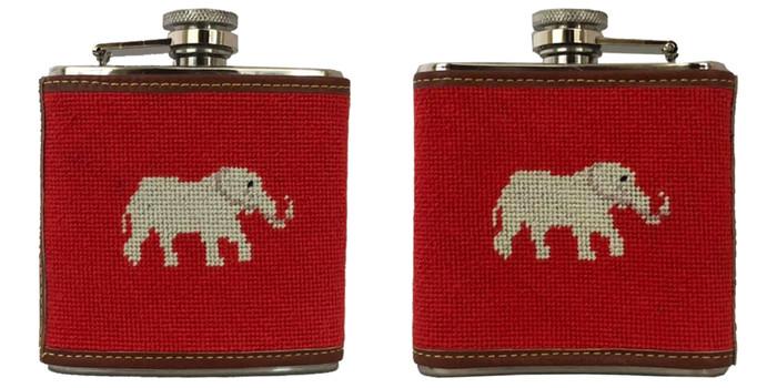 Elephant Needlepoint Flask