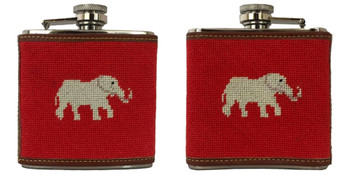 Elephant Needlepoint Flask