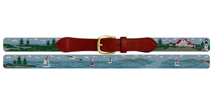 Sailing Landscape Needlepoint Belt