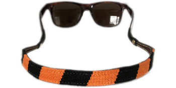 Black and Orange Needlepoint Sunglass Strap