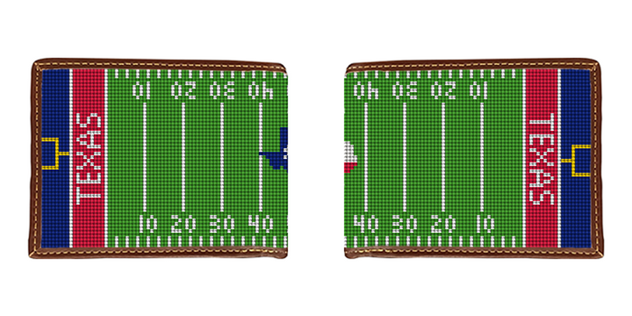 Custom Football Field Needlepoint Wallet
