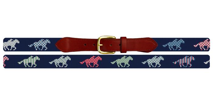 Derby Day Needlepoint Belt