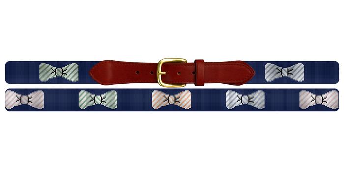 Preppy Seersucker Bow Ties Needlepoint Belt