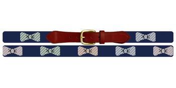 Preppy Seersucker Bow Ties Needlepoint Belt