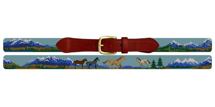 Natural Landscape Needlepoint Belt