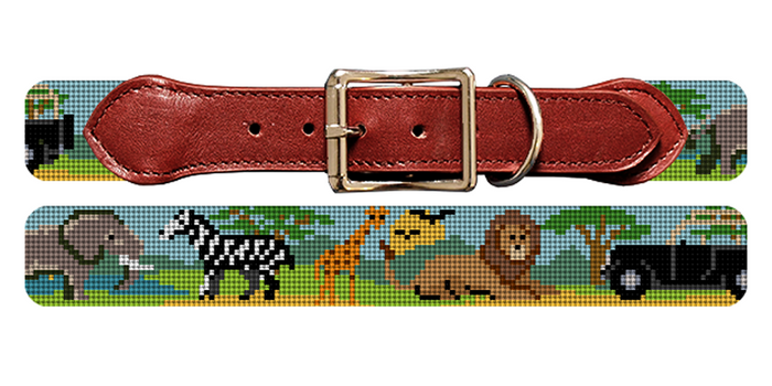 On Safari Needlepoint Dog Collar