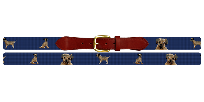 Border Terrier Needlepoint Belt